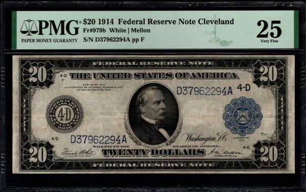 1914 $20 Cleveland FRN PMG 25 Fr.979b Item #1991933-005
