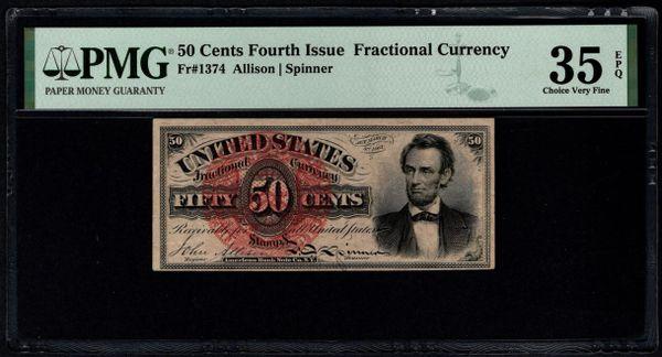 Fourth Issue 50 Cents PMG 35 EPQ Fr.1374 Abraham Lincoln Item #1991735-012