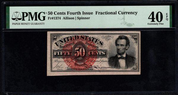 Fourth Issue 50 Cents PMG 40 EPQ Fr.1374 Abraham Lincoln Item #5014820-001