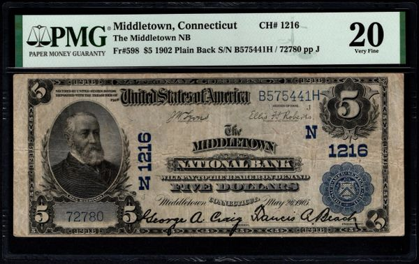 1902 $5 The Middletown National Bank of Connecticut PMG 20 Fr.598 Charter CH#1216 Item #1859910-012