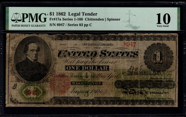 1862 $1 Legal Tender PMG 10 Fr.17a Item #8072849-013
