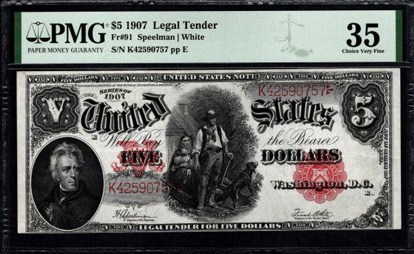 1907 $5 Legal Tender Woodchopper Note PMG 35 Fr.91 Item #8074703-004