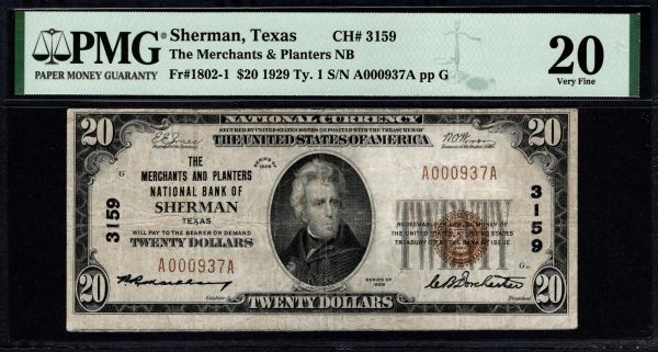 1929 $20 Merchants and Planters National Bank of Sherman Texas PMG 20 Fr.1802-1 Charter CH#3159 Item #8080174-022