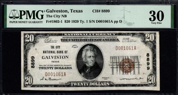 1929 $20 The City National Bank of Galveston Texas PMG 30 Fr.1802-1 Charter CH#8899 Item #8080174-032