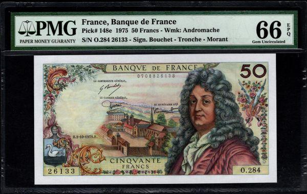 1975 France, Banque de France 50 Francs PMG 66 EPQ Pick #148e Item #1743656-016