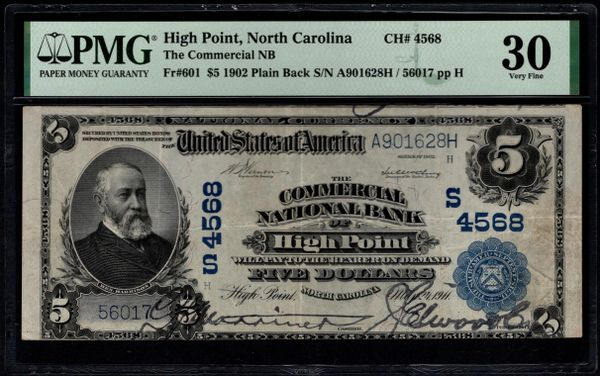 1902 $5 The Commercial National Bank of High Point North Carolina PMG 30 Fr.601 Charter CH#4568 Item #8082737-019
