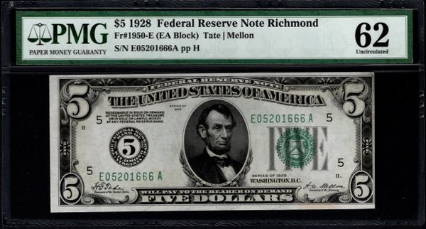 1928 $5 Richmond FRN PMG 62 Fr.1950-E Numerical District Item #5004896-016