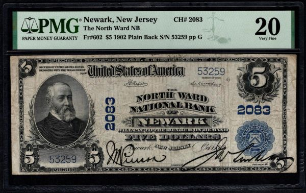 1902 $5 The North Ward National Bank of Newark New Jersey PMG 20 Fr.602 Charter CH#2083 Item #8082737-020