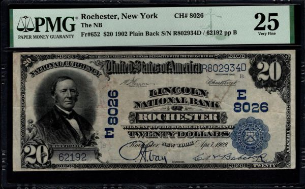 1902 $20 Lincoln National Bank of Rochester New York PMG 25 Fr.652 Charter CH#8026 Item #8082737-025