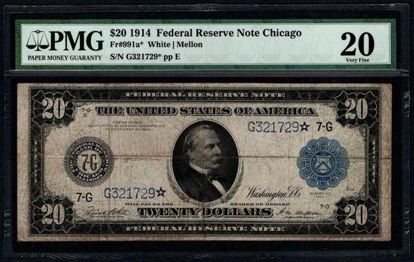 1914 $20 STAR Chicago FRN PMG 20 Fr.991a* Item #2507814-004
