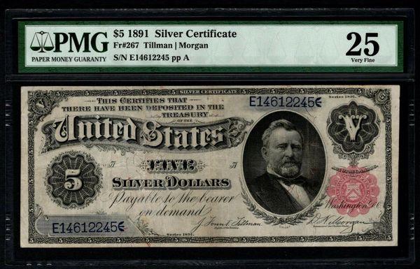 1891 $5 Silver Certificate PMG 25 Fr.267 Item #2509225-009