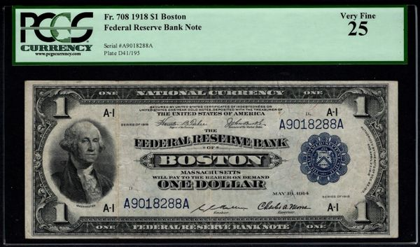 1918 $1 Boston FRBN PCGS 25 Fr.708 Item #80717355