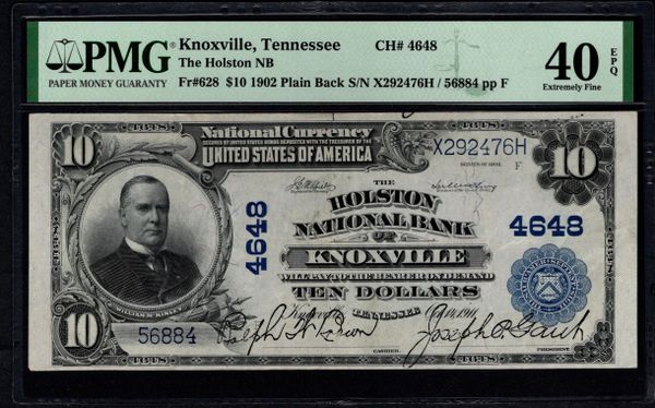 1902 $10 The Holston National Bank of Knoxville Tennessee PMG 40 EPQ Fr. Charter CH#4648 Item #1992050-004