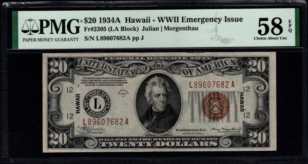 1934A $20 Hawaii Federal Reserve Note PMG 58 EPQ Fr.2305 Item #1991440-012