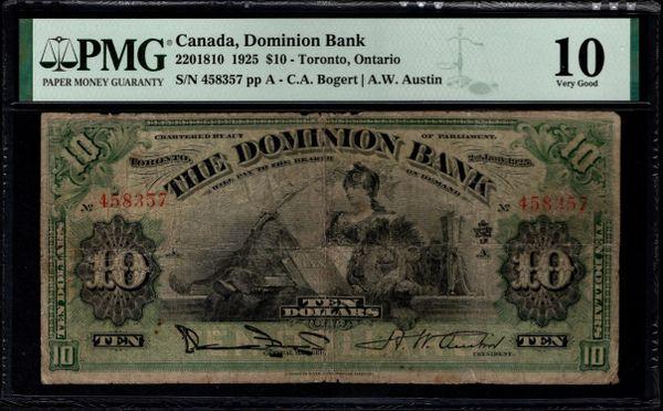 1925 $10 Canada, Dominion Bank, Toronto PMG 10 Cat.2201810 Item #2001368-001