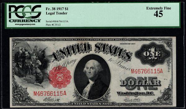 1917 $1 Legal Tender PCGS 45 Fr.38 Item #80390631