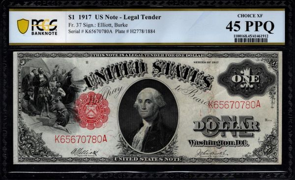 1917 $1 Legal Tender PCGS 45 PPQ Fr.37 Item #41461912