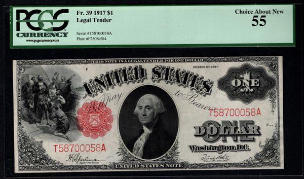 1917 $1 Legal Tender PCGS 55 Fr.39 Item #80444678