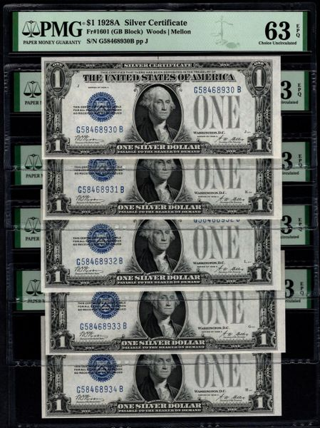 Lot of Five Consecutive 1928A $1 Silver Certificates PMG 63 EPQ Fr.1601 Item #2511732-090/094