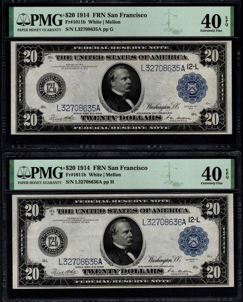 Lot of Two Consecutive 1914 $20 San Francisco FRNs PMG 40 EPQ Fr.1011b Item #1992039-005/006