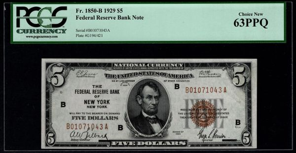 1929 $5 New York FRBN PCGS 63 PPQ Fr.1850-B Item #80283191