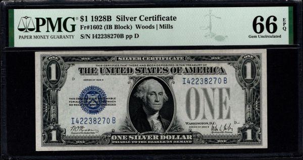 1928B $1 Silver Certificate PMG 66 EPQ Fr.1602 Item #2511092-048