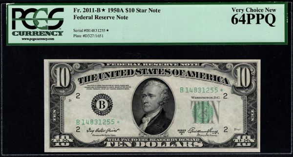 1950A $10 STAR New York FRN PCGS 64 PPQ Fr.2011-B* Item #80405744