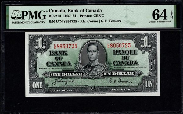 1937 $1 Canada, Bank of Canada PMG 64 EPQ BC-21d King George VI Item #2001525-002