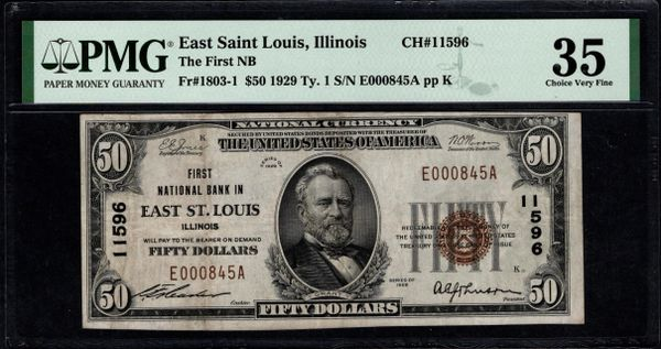 1929 $50 First National Bank of East Saint Louis Illinois PMG 35 Fr.1803-1 Charter CH#11596 Item #8072786-015