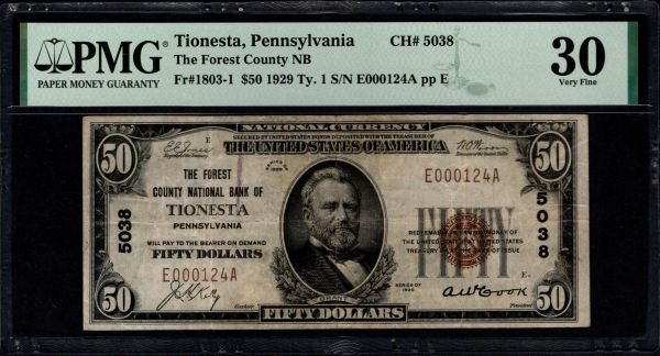 1929 $50 The Forest County National Bank of Tionesta Pennsylvania PMG 30 Fr.1803-1 Charter CH#5038 Item #8082737-017