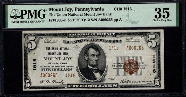 1929 $5 The Union National Mount Joy Bank of Pennsylvania PMG 35 Fr.1800-2 Charter CH#1516 Item #8082737-018