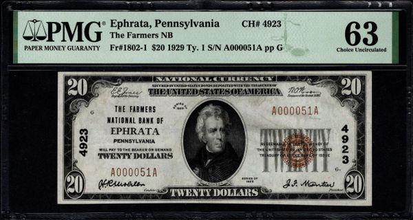 1929 $20 The Farmers National Bank of Ephrata Pennsylvania PMG 63 Fr.1802-1 Charter CH#4923 Item #8082737-016