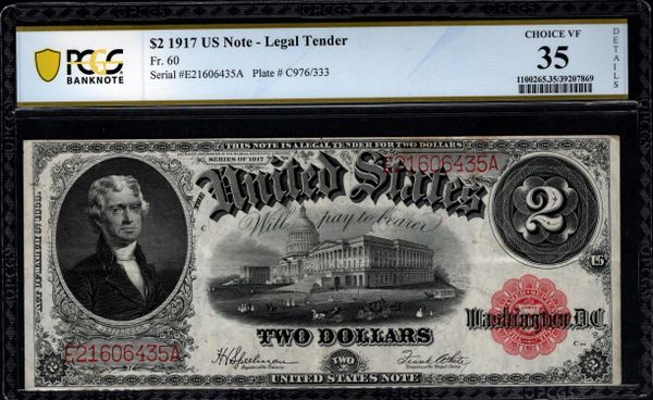 1917 $2 Legal Tender PCGS 35 DETAILS Fr.60 Item #39207869