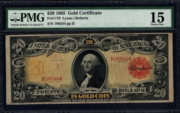 1905 $20 Gold Certificate PMG 15 Fr.1179 Item #5009422-004