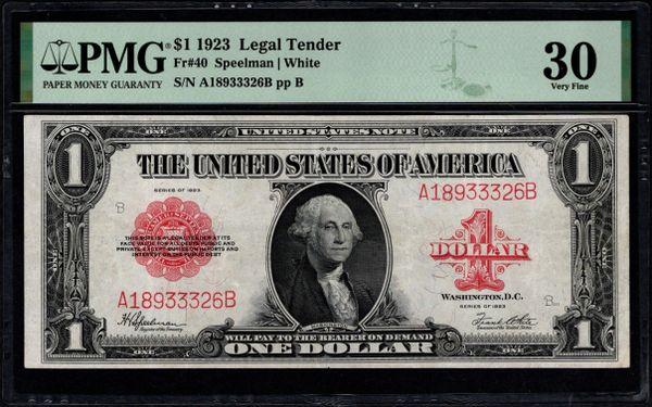 1923 $1 Legal Tender Red Seal PMG 30 Fr.40 Item #1992038-002