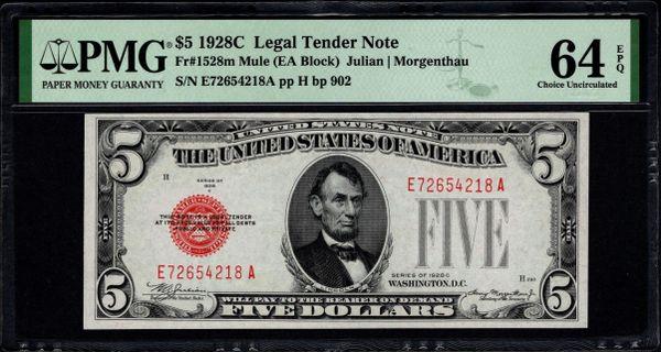 1928C $5 Legal Tender PMG 64 EPQ Fr.1528m Item #2511732-003