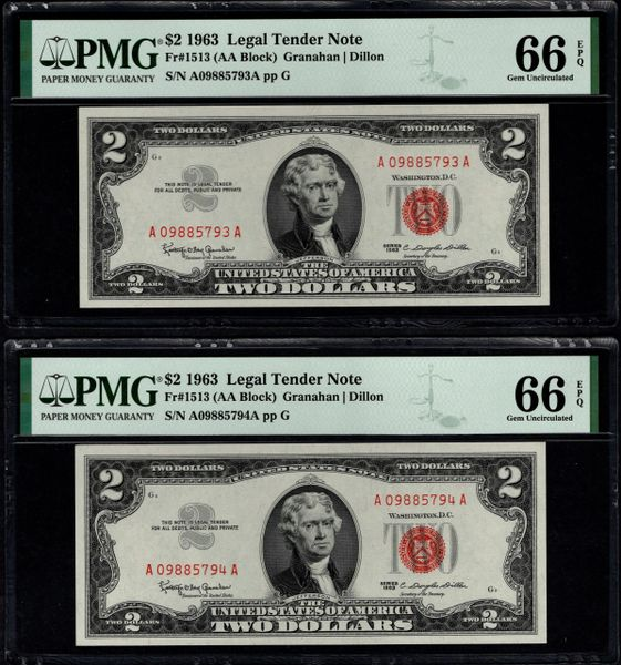 Lot of Two Consecutive 1963 $2 Legal Tender PMG 66 EPQ Fr.1513 Item #8080536-032/033