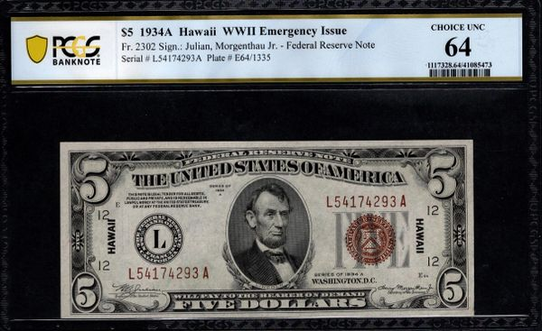 1934A $5 Hawaii FRN PCGS 64 Fr.2302 Item #41085473