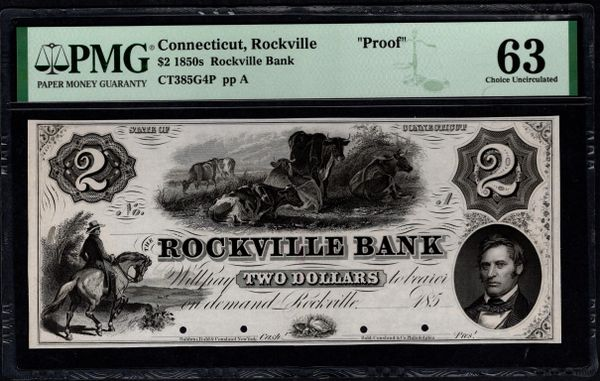 1850's $2 Rockville Bank Connecticut PROOF Note PMG 63 Item #1962740-004