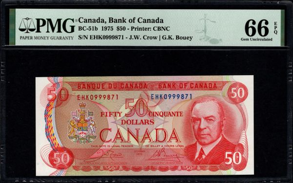 1975 $50 Canada, Bank of Canada PMG 66 EPQ BC-51b Royal Canadian Mounted Police On Back Item #1888566-016