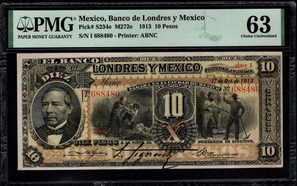 1913 Mexico, Banco de Londres y Mexico 10 Pesos PMG 63 Pick #S234e M272e Item #2001503-002