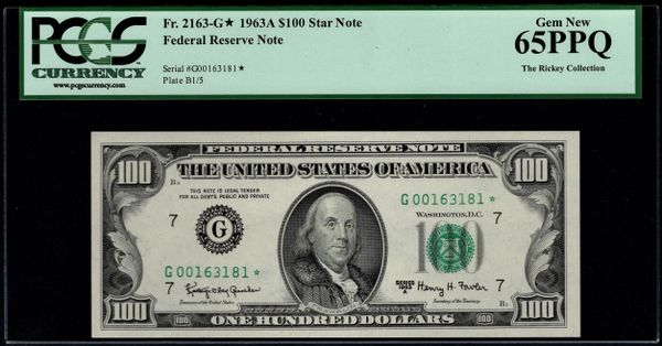 1963A STAR Chicago FRN PCGS 65 PPQ Fr.2163-G* Item #80652625