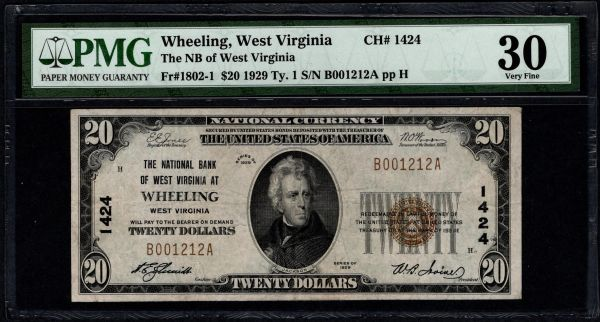 1929 $20 The National Bank of West Virginia at Wheeling PMG 30 Fr.1802-1 Charter CH#1424 Item #1887711-058
