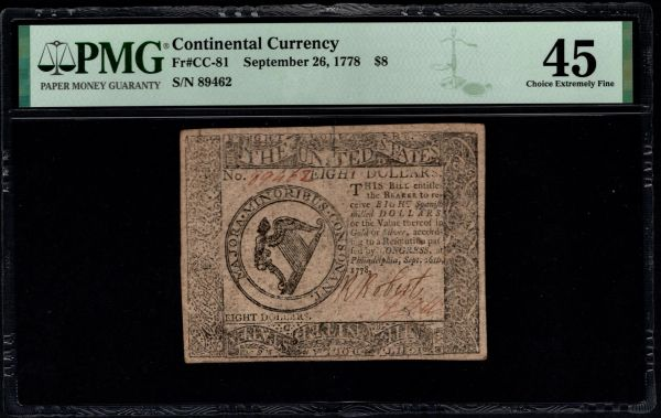 September 26, 1778 $8 Continental Currency PMG 35 CC-81 Item #8078937-007