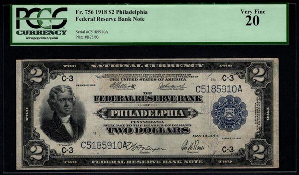 1918 $2 Philadelphia FRBN Battleship Note PCGS 20 Fr.756 Item #80531826