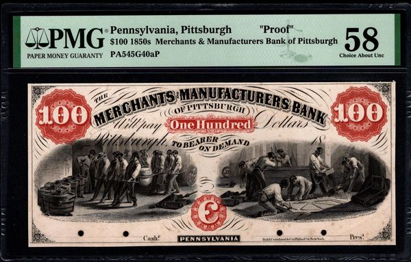 1850's $100 Merchants and Manufacturers Bank of Pittsburgh Pennsylvania PROOF Note PMG 58 Item #1962741-012