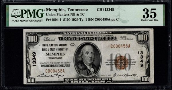 1929 $100 Union Planters National Bank & Trust Co. of Memphis Tennessee PMG 35 Fr.1804-1 Charter CH#13349 Item #1888736-031