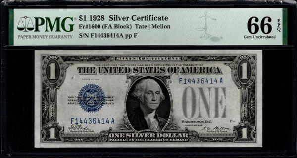 1928 $1 Silver Certificate PMG 66 EPQ Fr.1600 Item #2511091-091