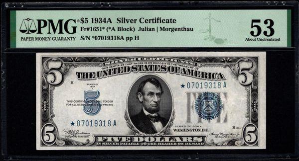 1934A $5 STAR Silver Certificate PMG 53 Fr.1651* Item #1991985-024