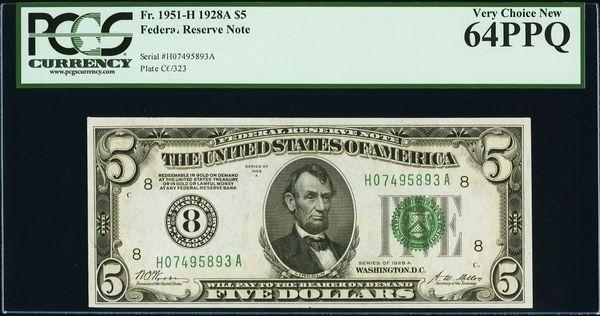 1928A $5 St. Louis FRN PCGS 64 PPQ Fr.1951-H Numerical 8 District Item #80814947